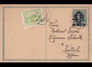 1919 Ganzsache nach Kallich/Böhmen