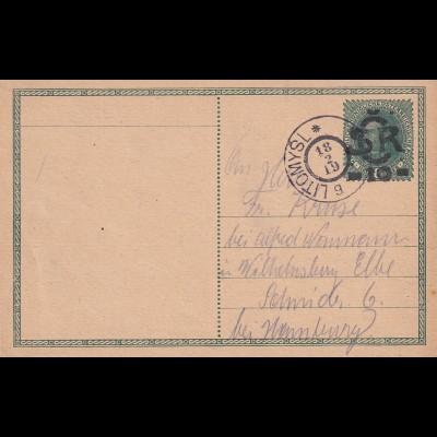 1919 Ganzsache Litomysl nach Schmiden/Neuburg