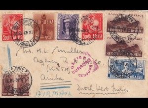 air mail Capetown 92, Curacao censor, to Aruba 1942, censor