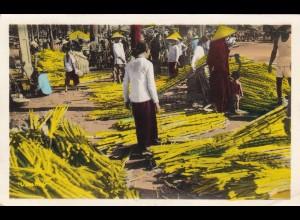 post card 1960 Saigon: Market for sugar cannes, Zuckerrohr to Germany