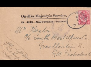 post card 1919, train-cancel used, Windoek to Grootfontein