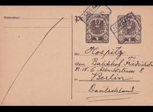 Postkarte Inflation 1921 Jenbach/Tirol, Bahnhofsbriefkasten nach Berlin