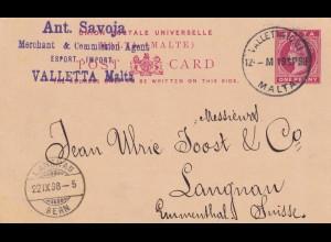 Post card Valletta/Malta to Langnan/Emmental/Swiss 1898