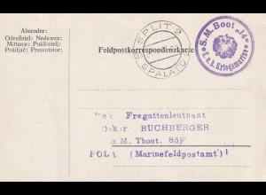 1917: Marinefeldpost S.M.Boot 14, Split/Spalato an S.M. Tauchboot 85F