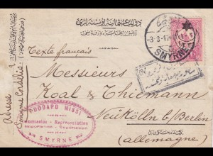 post card 1917 Smyrne to Berlin-Neukölln, censor