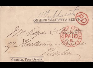 cover 1869 OHMS, London paid B to Berlin/Germany
