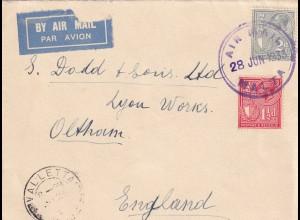 air mail Malta 1933 / Valletta to Oltham /England