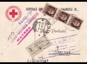 1942: hospital post card, registered Matera to Irsina, red cross