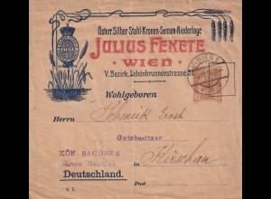 Ganzsache Wien 1906 mit Werbung Silber/Stahl nach Kirschau/Sachsen