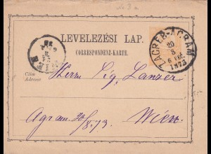 post card Zagreb-Acram 1873 to Wien