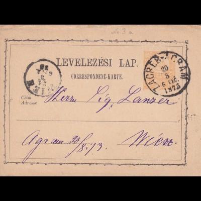 post card Zagreb-Acram 1873 to Wien