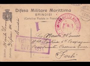 post card Difesa Militare Marittima, Brindisi 1915, censur