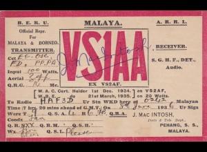 radio post card 1936 Malaya, Penang