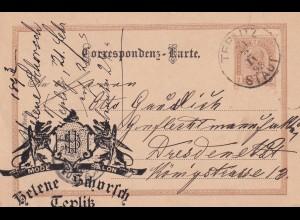 KuK Ganzsache 1893, Teplitz nach Dresden, Mode Salon