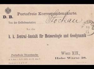 portofreie Postkarte Stockau, Erdbebenstation, nach Wien 1911, innen mit Text