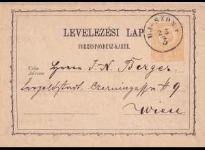 Ungarn, heute Slowakei, UJ-SZONY nach Wien 1872