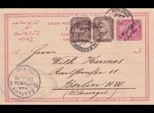 post card Alexandria Station 1896 nach Berlin