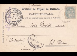 French Libya, Tripolis, post card 1905 to Schlesia - Polska Ostrava