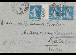 Letter 1924 Paris to Basel-forwarded to Lauwil