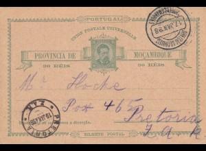 post card: Mocambique to Transvaal/Pretoria 1898