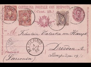 double post card: Maderno to Dresden 1900