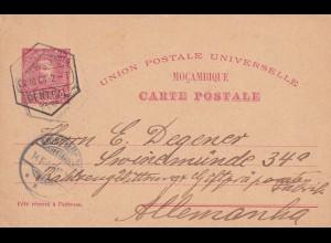 post card Mocambique 1904 to Swinzemünde