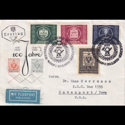 FDC Flugpost 1950 von Wien nach Davenport/Iowa