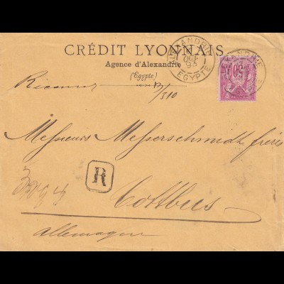Egypte: Alexandrie - french occupation 1893 to Cottbus/Germany, registered