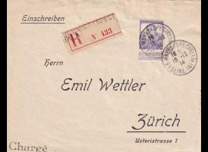 Registered Le Havre 1914 to Zürich