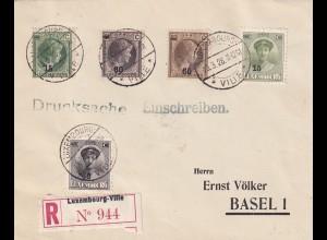 Luxembourg-Ville, Einschreiben nach Basel, Drucksache 1928