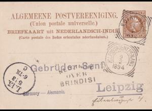 Briefkaart Kotaradja 1894 to Leipzig, Netherland-India: Postagent Penang