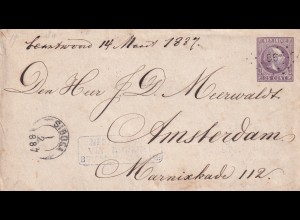 letter Netherland India 1887, via Penang to Amsterdam