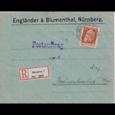 Bayern: Postauftrag Einschreiben Nürnberg nach Kaiserslautern 1912