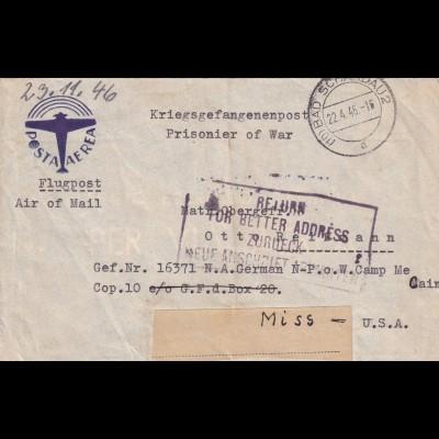 Bad Schandau: PoW, Flugpost nach USA Camp Mc Cain und zurück 1946