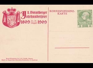 1909: Ganzsache als Ansichtskarte Vorarlberger Jahrhundertfeier