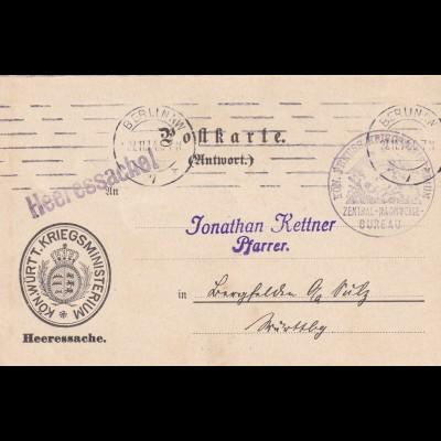 Antwort Postkarte Kriegsministerium 1914 Berlin an Pfarrer in Langfelchen