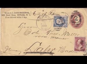 cover Newark N.J, 1887 to Lahr in Germany