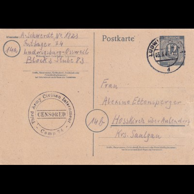 Postkarte PoW Ludwigsburg-Ossweil Interniertenlager to Hasskirch/Aulendorf 1947