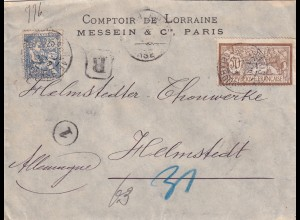 1903 bank cover Messein Paris to Helmstedt, Perfin MW&