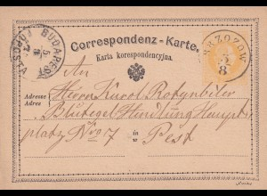 post card Brzozow 187? to Hungary - Pest/Budapest