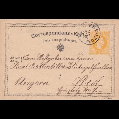 post card Brzozow 1872 to Hungary - Pest/Budapest