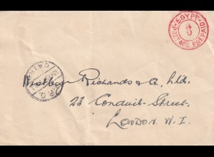 Egypt: British Forces 1938, Letter seal, Cairo-London, back: stamp