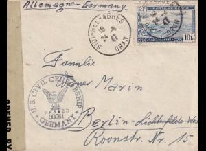 Algerien: Legion Etrangere to Berlin, 1947 Sidi Bel Abbes/Oran, censor