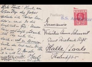 Postkarte West Afrika, Schiffspost S.S. Amstelkerk (1920-1953), nach Halle