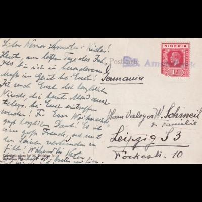 Postkarte West Afrika, Schiffspost S.S. Amstelkerk (1920-1953), nach Leipzig