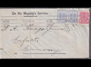 NSW: 1910 Sydney PERFIN to Erfurt
