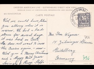 Post Card Swedish American Line: Gothenburg-New-York 1956 to Heidelberg