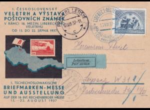 Postkarte 1937, Prag als Luftpost nach Leipzig, Briefmarken Messe