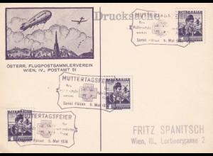 Postkarte Zeppelin, Muttertagsfeier 1936, Sankt Pölten nach Wien