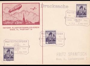 Postkarte Zeppelin, Mutterschutzwerk 1936, Vaterländisch Front, Linz